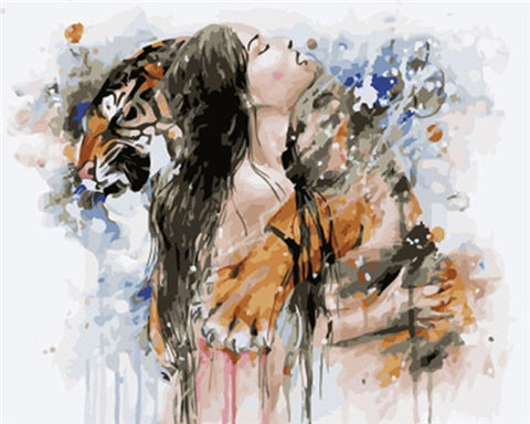 Woman Hugging A Tiger- People Paint By Numbers