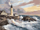Crashing Waves Lighthouse - Landscape Paint By Numbers