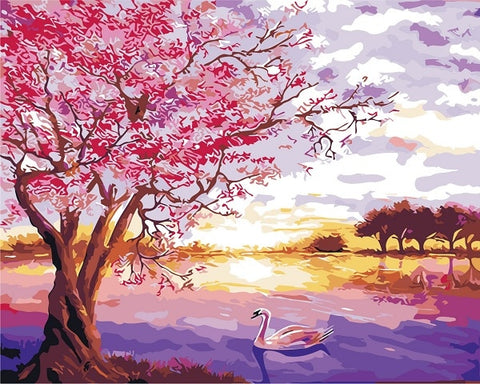 Cherry Blossom By The Water - Landscape Paint By Numbers