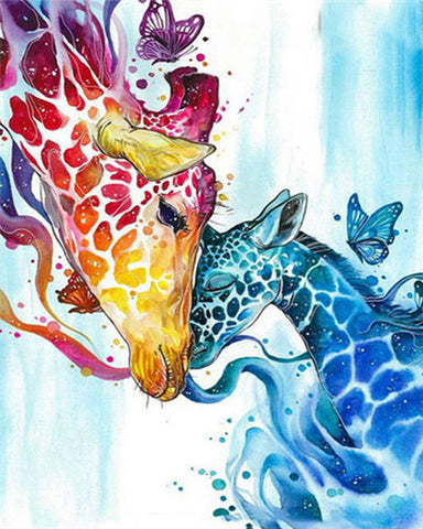 Colourful Giraffe And Her Babe- Cartoon and Animation Paint By Numbers