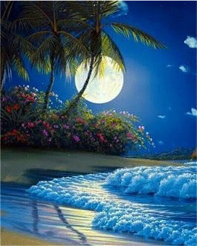 Beautiful Full Moon on Beach - Landscape Paint By Numbers