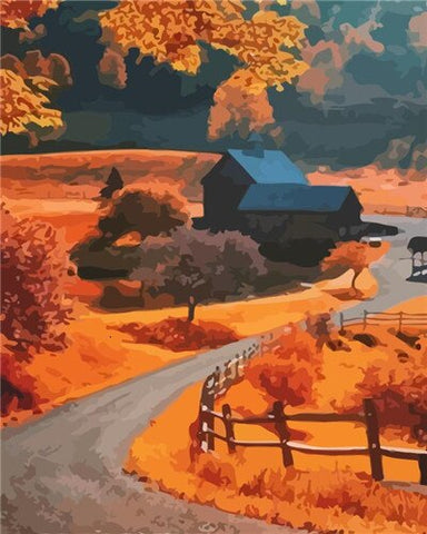 Autumn Farm Woodstock Vermont - Landscape Paint By Numbers
