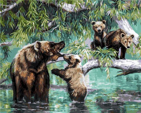 Bear Mom With Her Babies- Animals Paint By Numbers