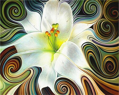 Abstract White Flowers- Flowers Paint By Numbers