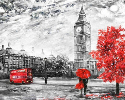London in Black and Red- Cities Paint By Numbers