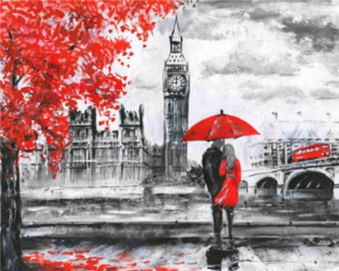 London lovers in Black and Red- Cities Paint By Numbers