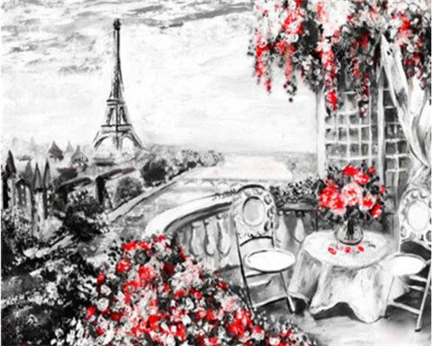 Paris Eiffel Tower in Black and Red- Cities Paint By Numbers