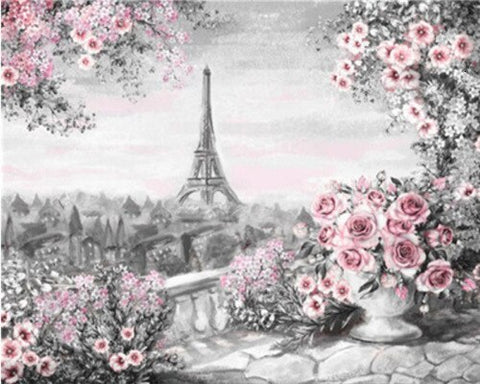 Paris Flowers in Black and Red- Cities Paint By Numbers