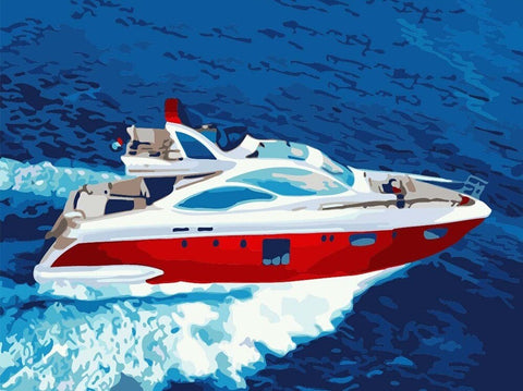 Speed Boat- Seascape Paint By Numbers