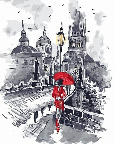 Red Dress Woman in Istanbul- Cities Paint By Numbers