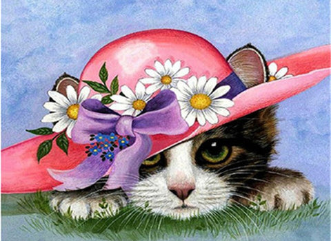 Cat With Flower Hat- Animals Paint By Numbers