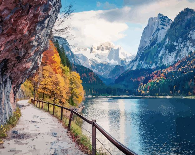 Beautiful Mountain Lake Road Landscape Paint By Numbers