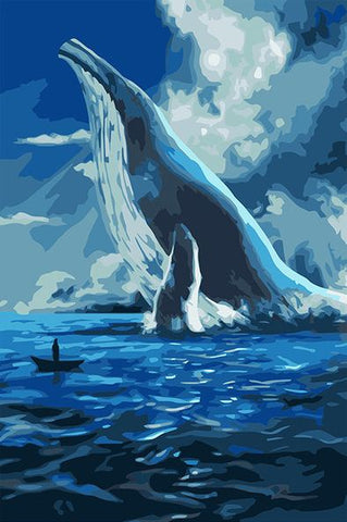 Big Blue Whale - DIY Paint By Numbers - Numeral Paint