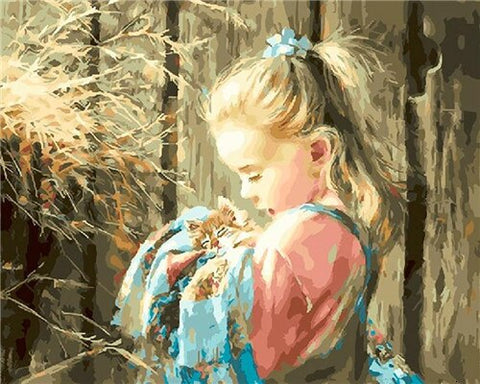 Blonde Girl With Kitten- People Paint By Numbers
