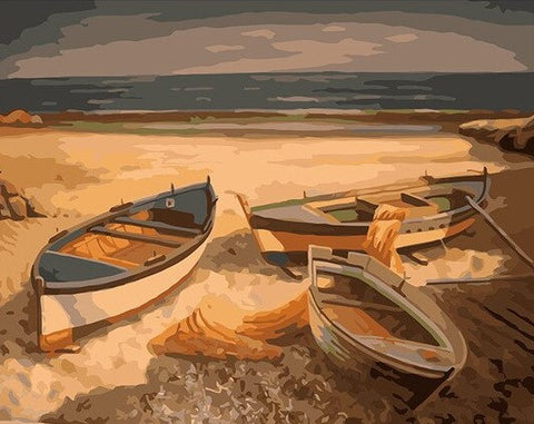 Abandoned Fishing Boats - Landscape Paint By Numbers