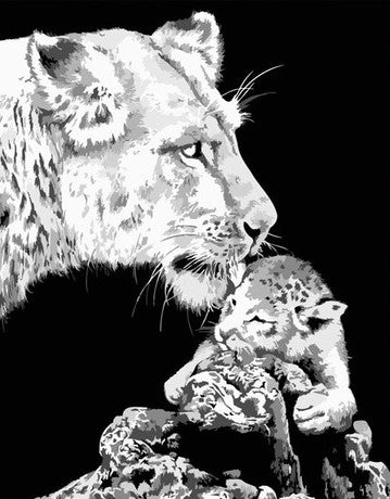 Black And White Asian Lion - Animals Paint By Numbers