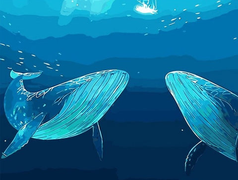 Whales Under Sea - Animals Paint By Numbers