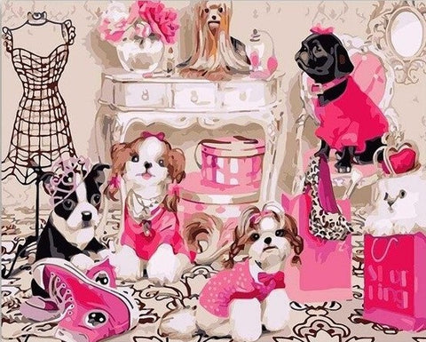 Dogs in Pink Dress  - Animals Paint By Numbers