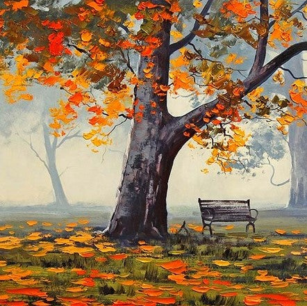 Banch Under Alone Tree - Landscape Paint By Numbers