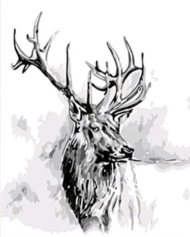 Deer in Black and White - Animals Paint By Numbers