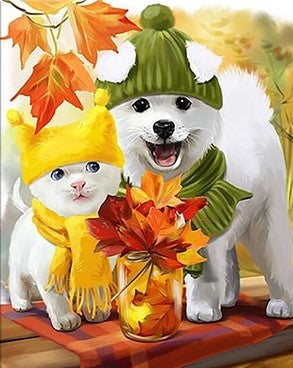 Autumn Cat and Dog - Animals Paint By Numbers