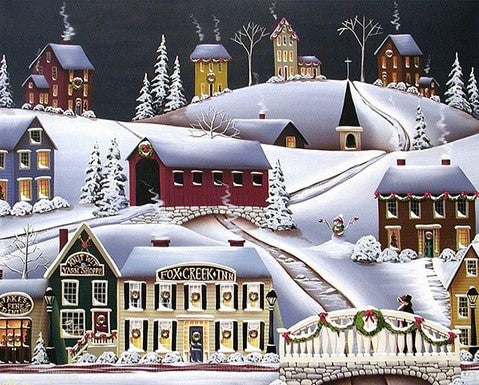 Christmas in Fox Creek Village  - Cities Paint By Numbers