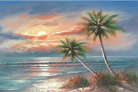 Coconut Trees on Beach  - Landscape Paint By Numbers