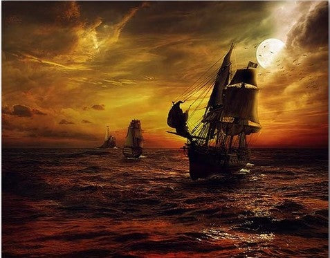 Pirate Ship - Seascape Paint By Numbers