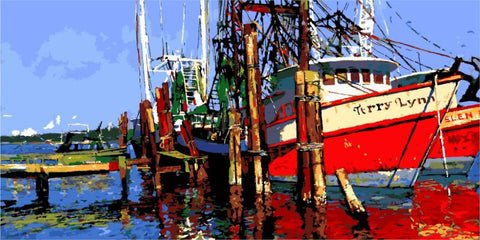 Fishing Boat- Seascape Paint By Numbers
