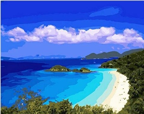Blue Beach  - Seascape Paint By Numbers