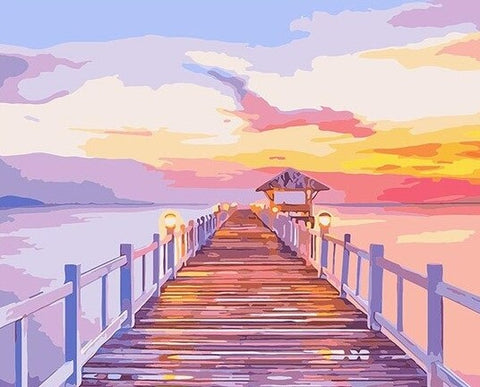 Romantic Boardwalk on Sea- Seascape Paint By Numbers