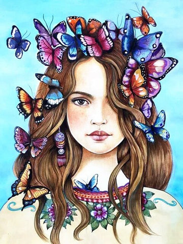 Butterflies on a Girl's Hair- People Paint By Numbers