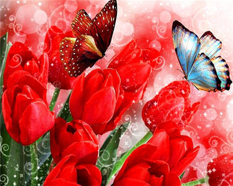 Butterfly And Red Tulip- Flowers Paint By Numbers