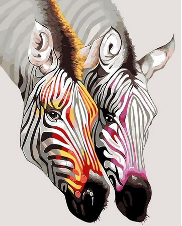 Colorful Zebra Couple - Animals Paint By Numbers