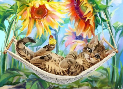 Cats in Hammock  - Animals Paint By Numbers