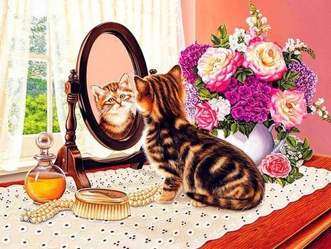 Cat looking to Mirror- Animals Paint By Numbers