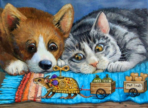 Dog and Cat Looking at Toys - Animals Paint By Numbers