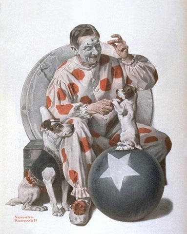 Clown Playing With Puppies- People Paint By Numbers