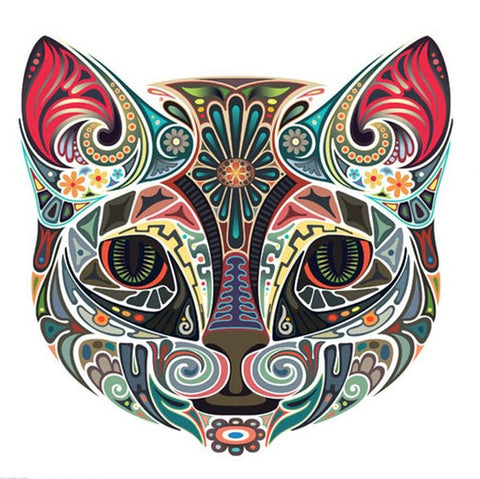 Ornamental Cat Colored- Animals Paint By Numbers