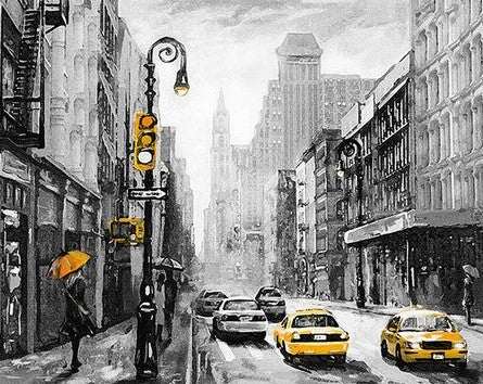 Black and White New York Taxi - Cities Paint By Numbers