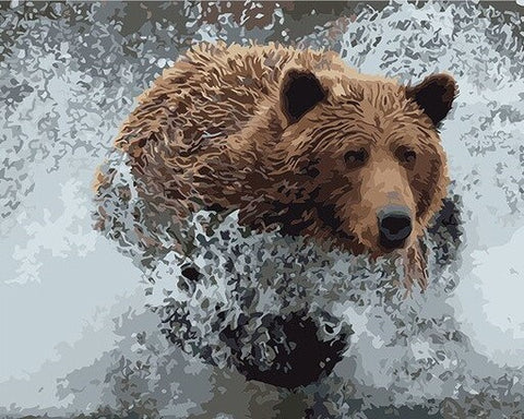 Bear on Water- Animals Paint By Numbers