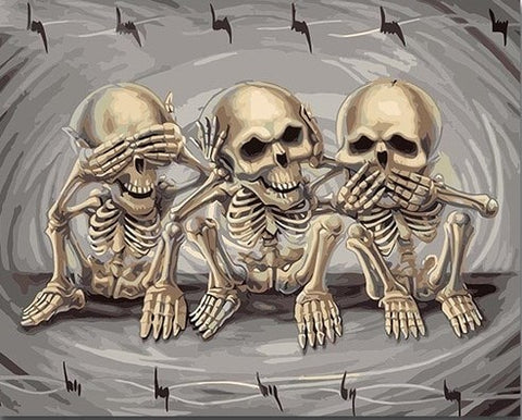 Three Skeletons Playing - People Paint By Numbers