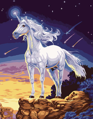 White Unicorn horse - Animals Paint By Numbers