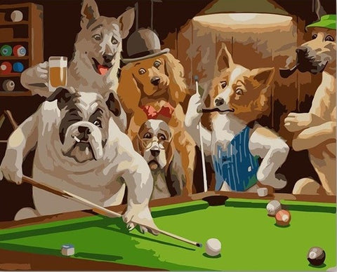 Dogs Playing Pool- Animals Paint By Numbers