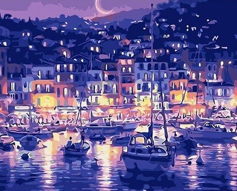 Monaco Under Moonlight - Cities Paint By Numbers
