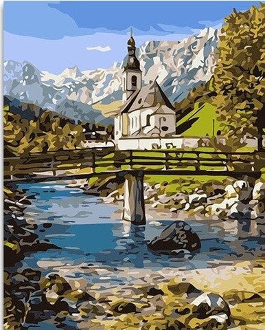 Valley Church- Landscape Paint By Numbers