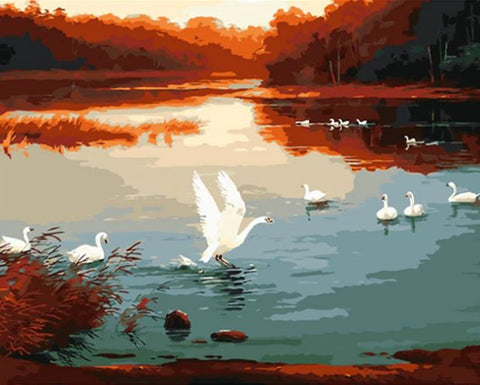 Swans on Sunset And Lake- Birds Paint By Numbers
