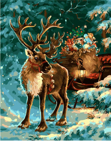 Christmas Elk - Animals Paint By Numbers