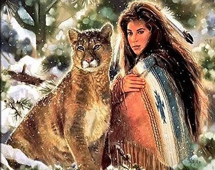 American Indian Woman with Wolf- People Paint By Numbers