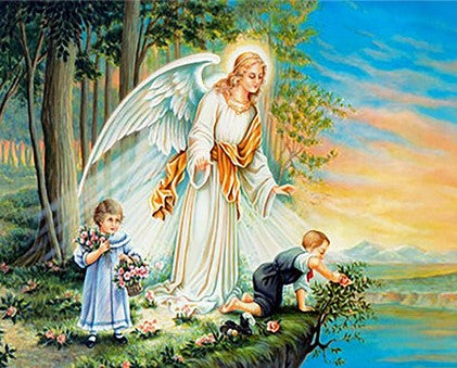 Angel Guarding Children- People Paint By Numbers